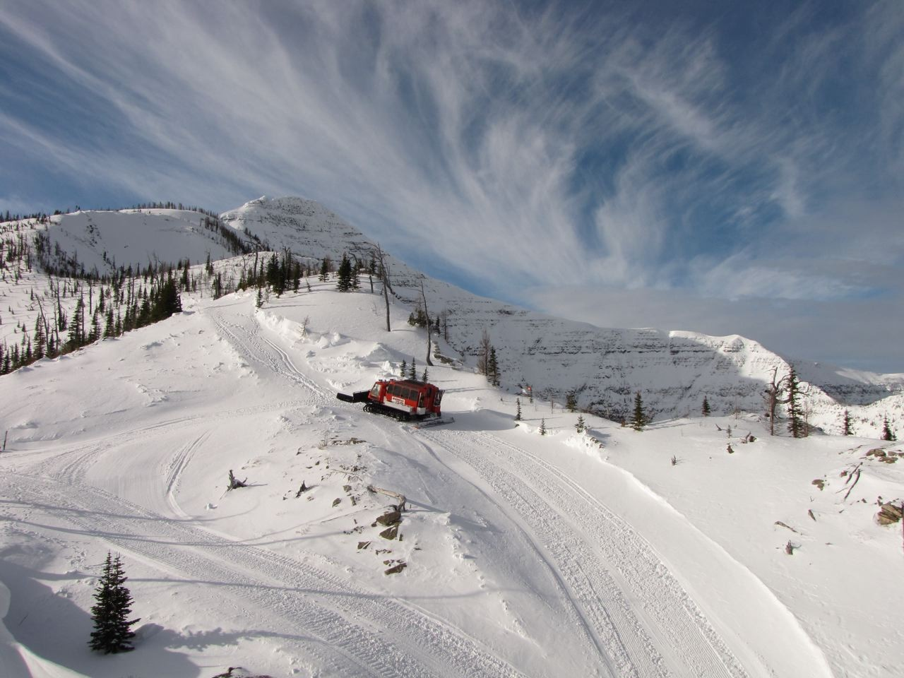 Cat skiing at Castle Mountain, Albertaundefined