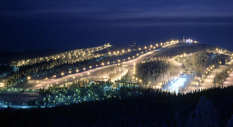 Ruka at night, Lapland