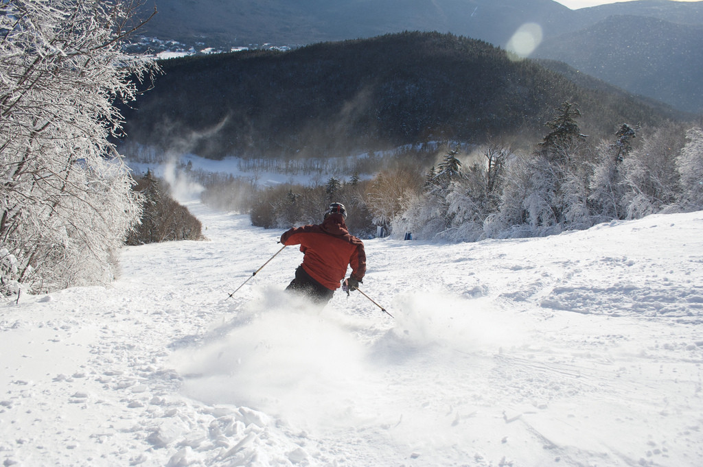 A skier finds fresh powder at Waterville Valley. Photo Courtesy of Waterville Valley.undefined